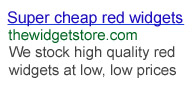 Google ad for red widgets