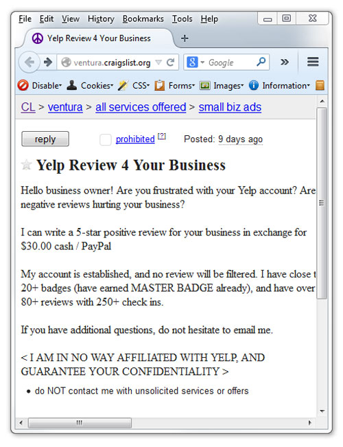 Yelp reviews for sale on craigslist.org
