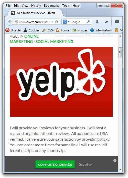 Yelp reviews for sale on fiverr.com